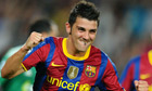 David Villa celebrates his first goal in the Champions League for Barcelona against Panathinaikos.