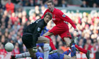 Peter Crouch scores for Liverpool against Manchester United