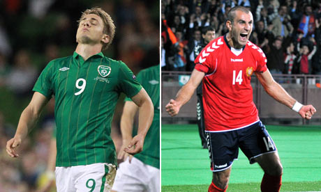 The Republic of Ireland's Kevin Doyle and Armenia's Yura Movsisyan