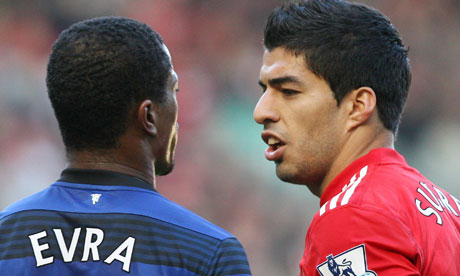 Luis Suárez and Patrice Evra, Liverpool v Manchester United