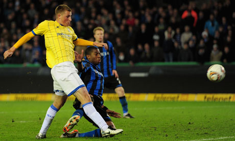 Chris Wood of Birmingham City scores a winner in the 10th minute of injury time against Club Brugge