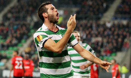 Joe Ledley celebrates scoring Celtic's equaliser during their 1-1 draw at Rennes