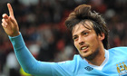 David Silva celebrates Manchester City's fifth goal in the 6-1 win over Manchester United
