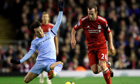 Liverpool's Charlie Adam, right, was part of the midfield that snuffed out David Silva