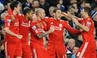 Liverpool's Raul Meireles celebrates scoring the winner against Chelsea at Stamford Bridge