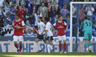 Tamir Cohen pays tribute to his late father Avi as he celebrates scoring Bolton's winner v Arsenal