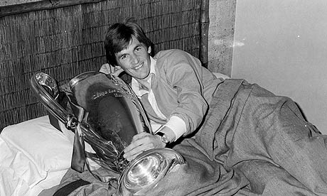 Kenny Dalglish takes the European Cup to bed with him in his hotel room after Liverpool's triumph