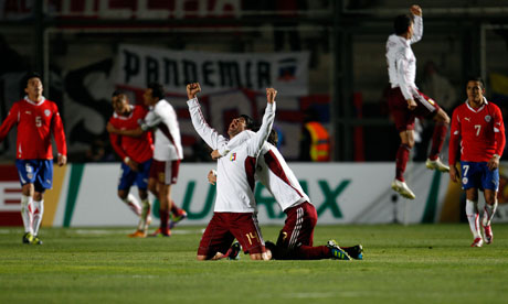 Venezuela players celebrate beating Chile