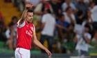 Robin van Persie celebrates scoring Arsenal's equaliser against Udinese