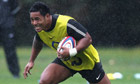 Manu Tuilagi trains in the rain