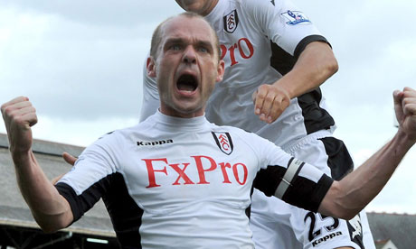 Danny Murphy celebrates his goal, Fulham v Manchester City