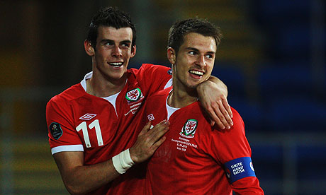 Aaron Ramsey of Wales is congratulated by Gareth Bale