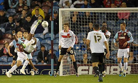 Burnley's Andre Amougou scores the winner against MK Dons