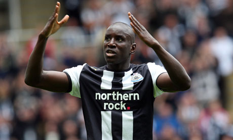 Demba Ba celebrates scoring the opening goal for Newcastle during their victory over Blackburn
