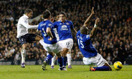 Aaron Lennon breaks the deadlock at White Hart Lane despite the efforts of the Everton defence