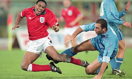 Paul Ince of England and William Guerra of San Marino