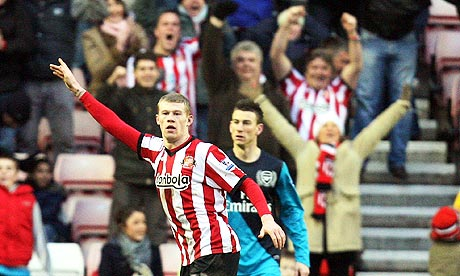 Sunderland's midfielder James McClean celebrates his goal against Arsenal.
