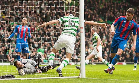 Celtic's Joe Ledley scores his side's winning goal against Inverness