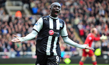Newcastle United's Papiss Cissé celebrates scoring the opener against Norwich City