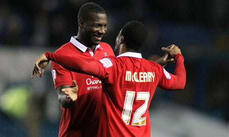 Garath McCleary, right, and Ishmael Miller of Nottingham Forest celebrate