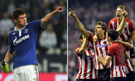 Schalke's Klaas-Jan Huntelaar and Athletic Bilbao's Fernando Llorente