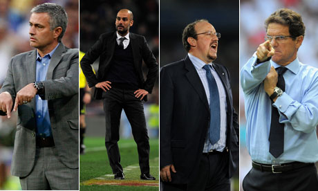 José Mourinho, Pep Guardiola, Rafael Benítez and Fabio Capello