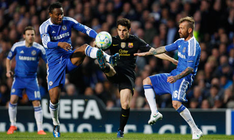 Barcelona's Cesc Fabregas in action with Chelsea's John Obi Mikel and Raul Meireles