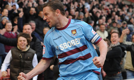 Kevin Nolan celebrates his goal for West Ham at Barnsley