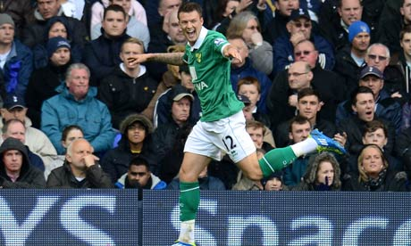 Anthony Pilkington of Norwich celebrates scoring against Tottenham at White Hart Lane