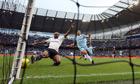 Jermain Defoe misses a good chance for Tottenham against Manchester City