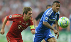 Ryan Bertrand battles with Philipp Lahm in the Champions League final