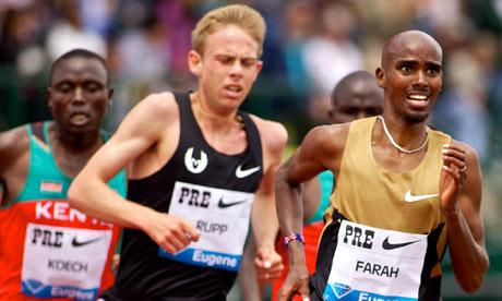 Mo Farah running in Eugene, Oregon