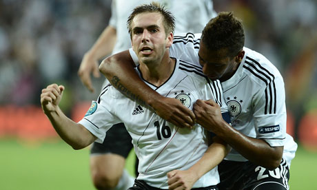 Philipp Lahm celebrates scoring Germany's opening goal