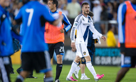 David Beckham leaves the pitch after LA Galaxy's defeat at San Jose