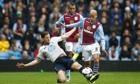 The role of Aston Villa's Karim El Ahmadi, right, was about pressurising Tottenham's holding players