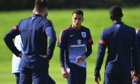 Ravel Morrison, centre, looks on during an England Under-21s training session in Burton-upon-Trent