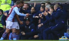 Gabriel Agbonlahor celebrates with Andreas Weimann and Aston Villa's dugout after scoring