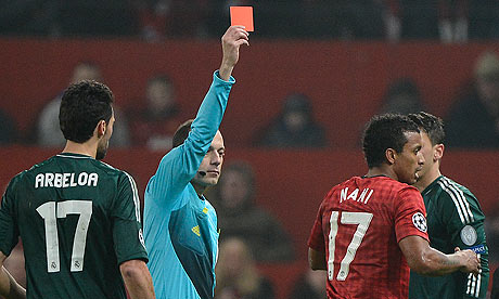 Nani is sent off