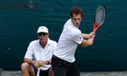 Andy Murray of Britain trains on a practice court