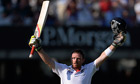 England's Ian Bell celebrates a centurhy