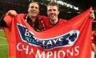 Rio Ferdinand and Michael Carrick celebrate last season's Premier League title triumph