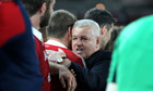 Lions head coach Warren Gatland embraces his players
