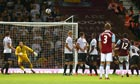 West Ham's Ricardo Vaz Tê scores with a free-kick against Cheltenham Town in the Capital One Cup