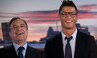 Real Madrid president Florentino Pérez, left, and Cristiano Ronaldo at the re-signing presentation
