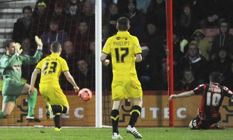 Brett Pitman slides in to score for Bournemouth in the fifth minute of the FA Cup tie against Burton