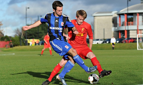 Jordan Jowers of Middlesbrough and Liverpool's Will Marsh during a Premier League under-18 match