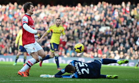 Arsenal's Tomas Rosicky scores in the Premier League against Sunderland at the Emirates