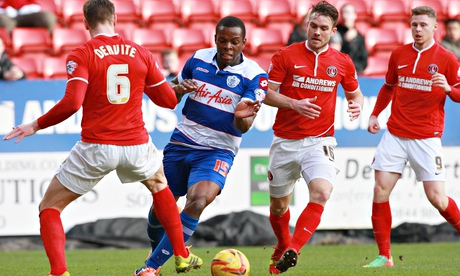 QPR's Nedum Onouhan, centre, attacks Charlton's Dorian Dervite in the Championship at The Valley