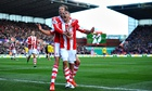 Stoke City's Jonathan Walters celebrates his goal in the Premier League against Arsenal at Britannia
