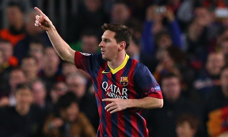 Lionel Messi celebrates after scoring for Barcelona against Manchester City in the Champions League